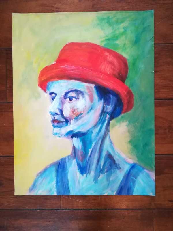 Schilderij vrouw met rode hoed