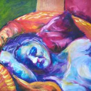 Schilderij slapende vrouw