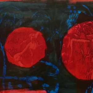 Twee rode cirkels kunst